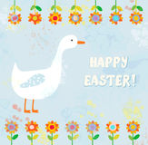 Happy easter card with goose Royalty Free Stock Photo