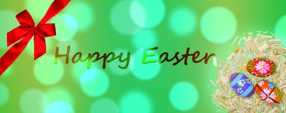 Happy Easter card with green bokeh and red bow and painted eggs Royalty Free Stock Photo