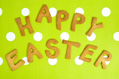 Happy Easter Card On green fabric Stock Images