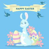 Happy Easter card. Happy Easter greeting card with bunny and eggs Royalty Free Stock Photography