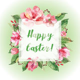 Happy Easter card. Happy Easter greeting card with flowers and leaves. Poster. Watercolor Royalty Free Stock Photo
