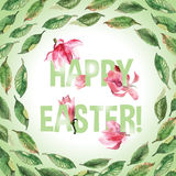 Happy Easter card. Happy Easter greeting card with flowers and leaves. Poster. Watercolor Royalty Free Stock Photography