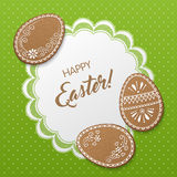 Happy Easter card. Happy Easter greeting card with polka dot background, lacy doily and egg-shaped gingerbread cookies. Vector Illustration Stock Images