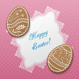 Happy Easter card. Happy Easter greeting card with polka dot background, lacy doily and egg-shaped gingerbread cookies. Vector Illustration Royalty Free Stock Photo
