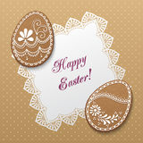 Happy Easter card. Happy Easter greeting card with polka dot background, lacy doily and egg-shaped gingerbread cookies. Vector Illustration Royalty Free Stock Images
