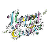 Happy Easter card hand drawn celebration quote. Stock Images