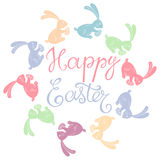 Happy easter card. Hand-drawn  illustration with cute mult. Happy easter card. Stylish  illustration with multi-colored Easter Bunny on a white background Royalty Free Stock Photography