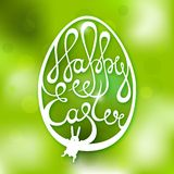 Happy Easter card with hand-drawn text and little Royalty Free Stock Photos