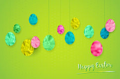 Happy Easter card with hanging easter eggs on green background Stock Photography