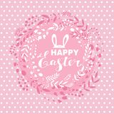 Happy Easter card. Happy Easter .Beautiful   greeting card with flower frame,  rabbit, egg ,easter bunny and handdrawn lettering  in cartoon style. Vector Stock Image