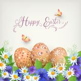 Happy Easter Card. Vector festive composition with flowers, butterflies and painted eggs Royalty Free Stock Photo