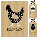 Happy easter card with hen and eggs, invitation, b Stock Photography