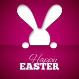 Happy easter card with hiding bunny and font on fuchsia paper background Royalty Free Stock Photography