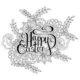 Happy Easter card. Easter holiday background. Hand drawn lettering. Isolated on white background. Vector illustration Stock Images
