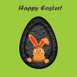 Happy easter card illustration with a cartoon rabbit Royalty Free Stock Photo