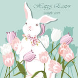 Happy Easter card Illustration. With cute bunny rabbit and tulips. Vector Royalty Free Stock Photos
