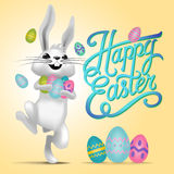 Happy easter card illustration with easter eggs, easter bunny Stock Photos