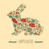 Happy easter card  illustration. With floral decorative easter bunny, easter rabbit Royalty Free Stock Image