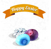 Happy easter card illustration hand draw watercolor Royalty Free Stock Images