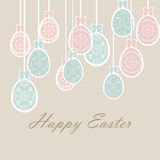 Happy Easter card Illustration with ornamented classic Easter eggs Royalty Free Stock Images