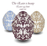 Happy Easter card Illustration with ornamented classic eggs Royalty Free Stock Photography