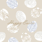 Happy Easter card Illustration with ornamented eggs Stock Photos