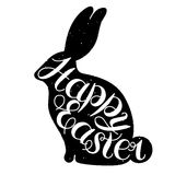 Happy Easter card illustration. Vector lettering.Typographical Background.Isolated on white background.Happy Easter card illustration with easter rabbit.Hand Royalty Free Stock Images