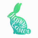 Happy Easter card illustration. Vector lettering.Typographical Background. Watercolor elements and patterns, calligraphic phras isolated on white.Splashes.Happy Stock Image