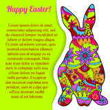 Happy Easter card with rabbit and bubble banner Stock Photo