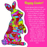 Happy Easter card with rabbit and bubble banner Royalty Free Stock Photo