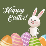 Happy easter card rabbit with egg decoration Royalty Free Stock Photo