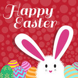 Happy easter card is rabbit egg and red dot background Royalty Free Stock Photos