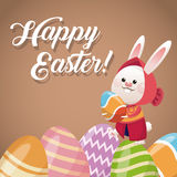 Happy easter card rabbit girl egg festive. Vector illustration eps 10 Royalty Free Stock Photography