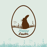 Happy Easter card with rabbit in the shape of egg Stock Photography
