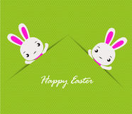 Happy Easter card with  rabbits Stock Photos