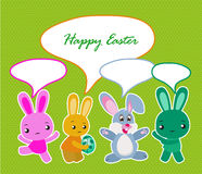 Happy Easter card with  rabbits Royalty Free Stock Photo