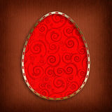 Happy Easter Card - red egg in golden frame Stock Photo