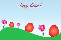 Happy Easter card with red eggs and flowers vector Royalty Free Stock Images
