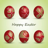 Happy Easter Card - Set of Six Red Eggs with Ornamental Patterns Stock Photos