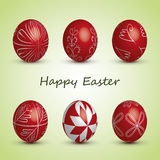 Happy Easter Card - Set of Six Red Eggs with Ornaments Royalty Free Stock Image