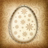 Happy Easter Card - small flowers and patterned background Stock Photography
