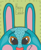 Happy Easter card with smile rabbit Stock Image