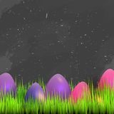 Happy Easter Card with space for text, Grass on dark chalkboard with colorful eggs. Vector illustration Royalty Free Stock Image