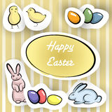 Happy Easter card with stikers Stock Photos