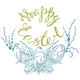 Happy easter. Card with summer happy easter, easter eggs in zen style graphics, vector illustration Royalty Free Stock Image