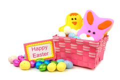 Happy Easter card with sweets Stock Images