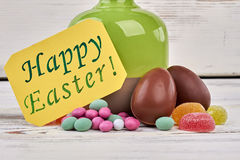 Happy Easter card and sweets. Royalty Free Stock Image