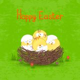 Happy Easter card template, basket with  eggs Royalty Free Stock Image