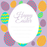 Happy Easter card template with colorful eggs Stock Photo