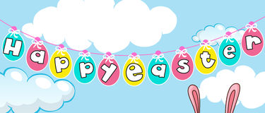 Happy Easter card template with eggs in the sky Stock Image